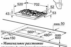 Схема встраивания газовой плиты