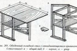 Чертеж раскладного кухонного стола (пример)