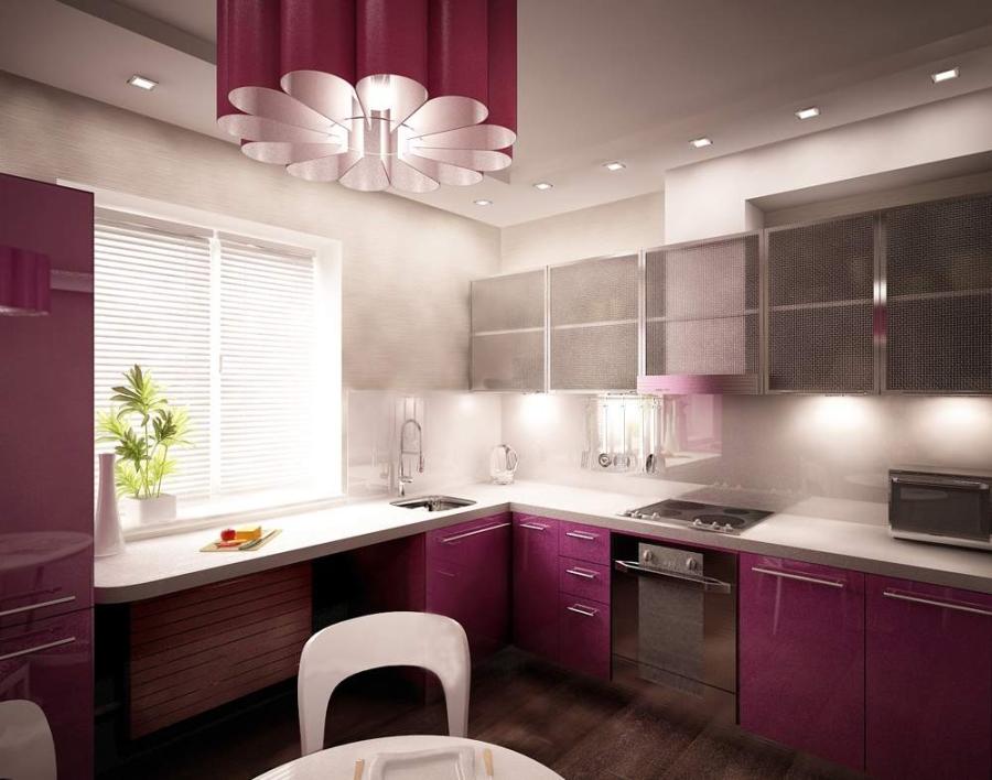 Дизайн кухни с абажуром