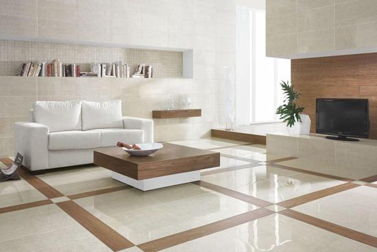 Гостиная отделанная керамической плиткой