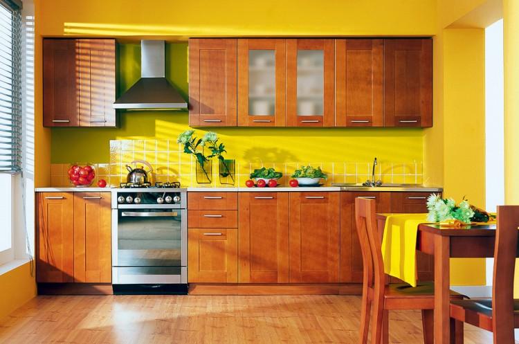 Отделка стен кухни  разными материалами в одном цвете
