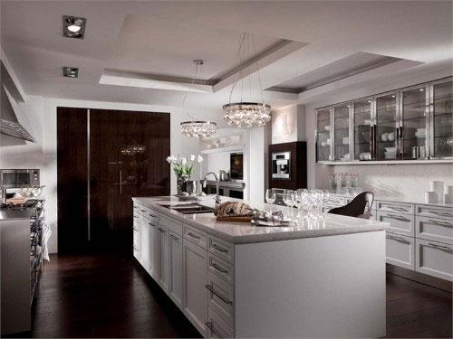 Современная кухня, оборудованная столом-островом