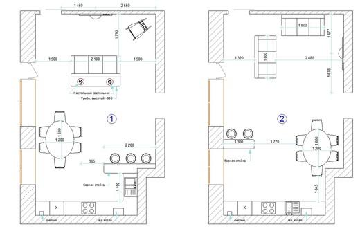 Варианты планировки кухни-студии
