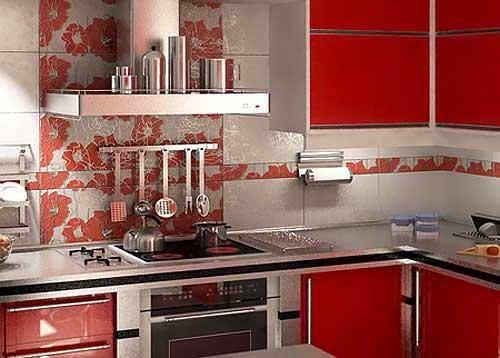 Кухня отделанная керамической плиткой