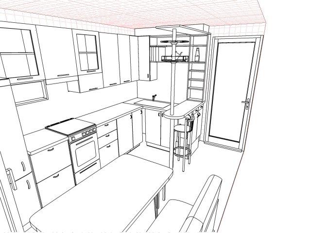 Пример проекта вытянутой кухни