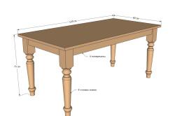 Схема кухонного стола из дерева с резными ножками