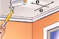 Схема покраски потолка на кухне: 1 слой - по длине потолка, 2 слой - по ширине