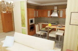 Снесенная стена между гостиной и кухней