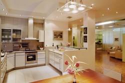 Потолочные светильники на кухне