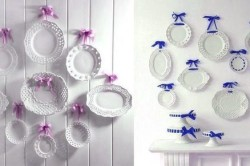 Белые тарелки с яркими лентами
