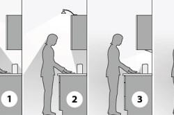 Пример изменения освещения пространства кухни в зависимости от места расположения источника света
