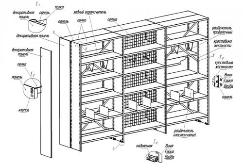 Схема устройства шкафа для книг