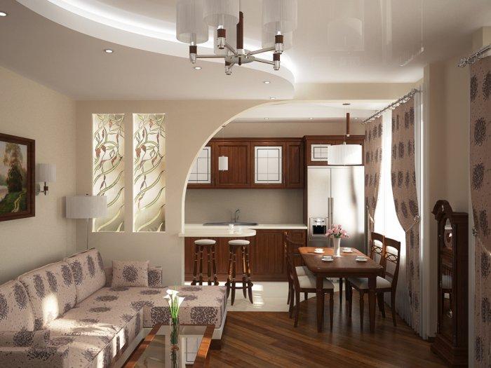 Объединение зала и кухни в доме