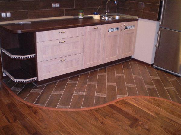 Пример комбинированного кухонного пола
