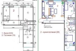 Проект перепланировки и обустройства кухни, совмещенной с гостиной