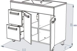 Схема кухонной тумбы с ящиками под мойкой для прямой кухни