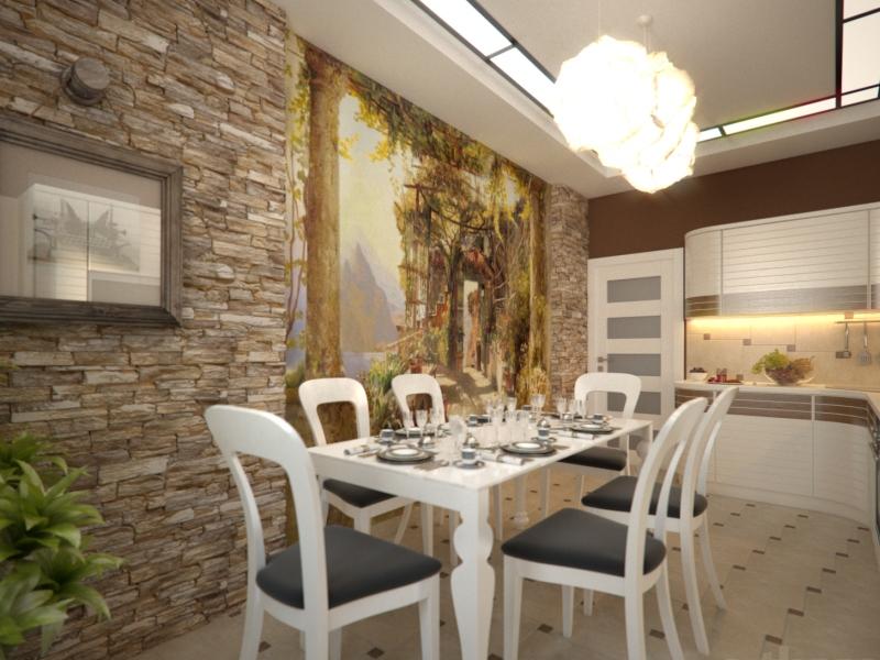 Декорирование стены на кухне камнем