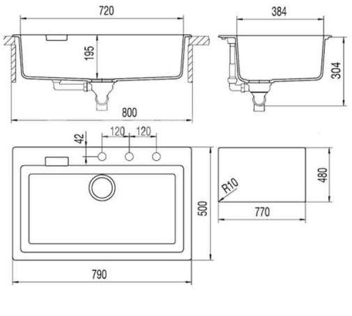 Схема кухонной мойки с размерами