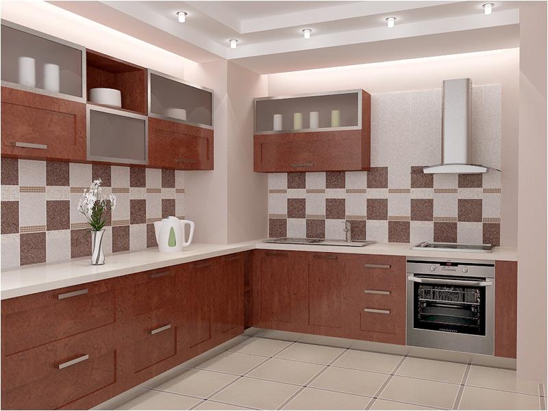 Кухня отделанная кафелем