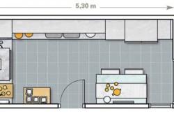 Схема зонирования кухни в зависимости от размеров помещения №1
