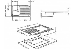 Схема накладной кухонной мойки