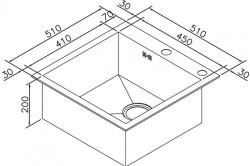 Схема примерных размеров кухонной мойки