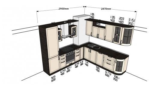 Чертеж кухни с угловым коробом