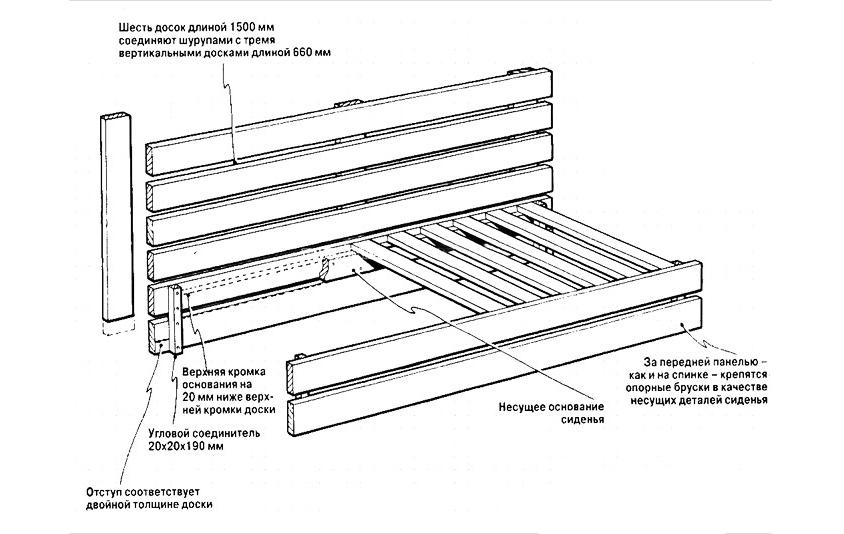 Схема складного дивана