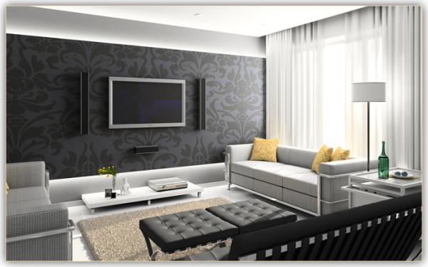 Правильный дизайн стен в гостиной: обои