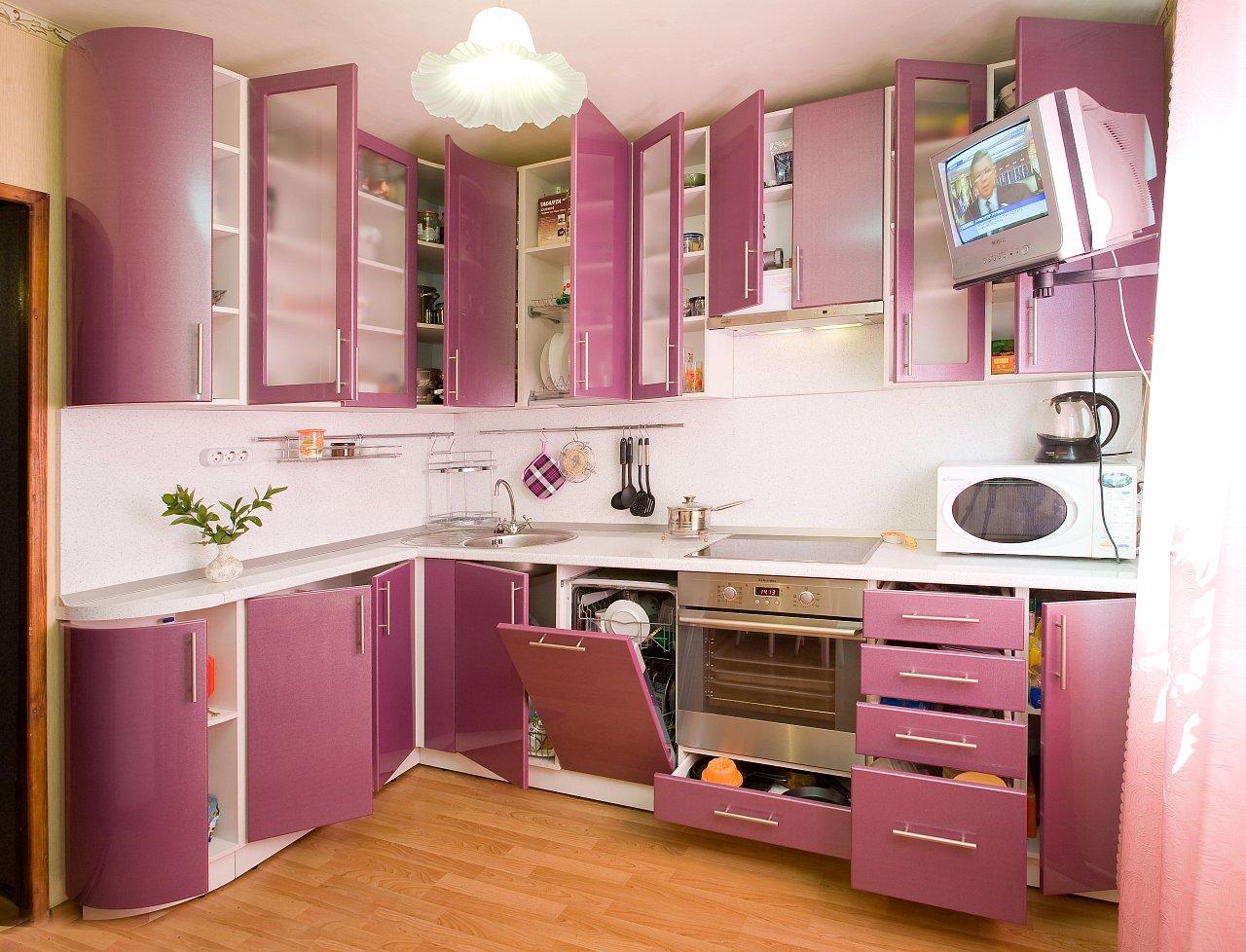 Какие обои подойдут для фиолетовой кухни?